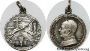 S9258 Médaille Papal Vatican Pius Pie XI Pont Max Lourdes 1935 Silvered