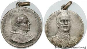 S9263 Médaille Papal Vatican Em. Vittorio 1929 Chiesa Pape Silvered