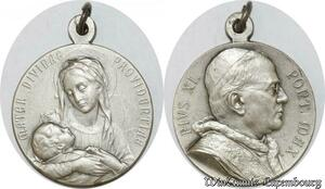 S9264 Médaille Papal Vatican Pius Pie XI Pont Max Mater Divinae Silvered