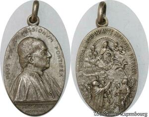 S9279 Médaille Papal Vatican Pius Pie XI Theresia 1879 1929 Silvered