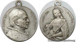 S9287 Médaille Papal Vatican Pie XI Pont Max Sancta Agnes Silvered ->Make offer