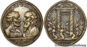 S9303 Rare Médaille Papal Vatican Benedict XIV Scala Sancta 1740-1758