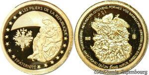 S9486 France Or Hymne Francaise Les Pillers de La Rep Fraternité PF BE Gold