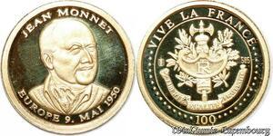 S9496 France Médaille Jean MonnEt 2000 PF BE Or Gold -> Faire Offre
