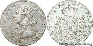 S9582 Rare 1/5 Ecu Louis XVI Branches OlivIs 1788 H Argent Silver SUP +++