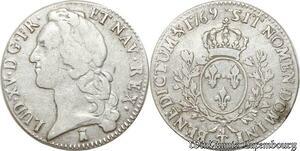S9596 R4 Rare Ecu Louis XV bandeau 1769 T Nantes variate inédite Rex Argent