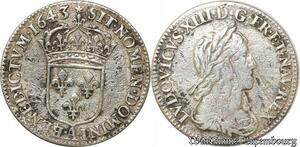 S9602 1/12 Ecu Louis XIII 2nd Poincon Warin 1643 A Paris Rose Argent