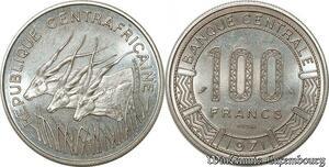 S9622 Afrique centrale 100 Francs Essai Elands Bazor 1971 R FDC -> Faire Offre