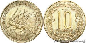 S9631 Afrique centrale 10 Francs Essai Elands Bazor 1974 E FDC -> Faire Offre