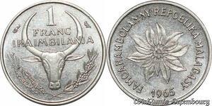 S9642 Madagascar 1 Franc Essai Iraimbilania 1965 FDC -> Faire Offre