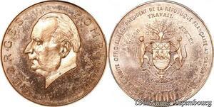 S9668 Gabon 5000 Francs Essaie Visite Officielle Pompidou 1971 FDC