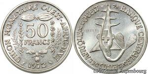 S9696 Afrique Occidentale Francaise 50 Francs Essai Ashantis 1972 FDC