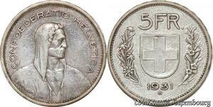 S9821 Suisse5 Francs Confédération Helvétique 1931 B Argent Silver