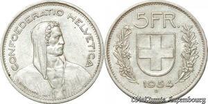 S9822 Suisse5 Francs Confédération Helvétique 1954 B Argent Silver