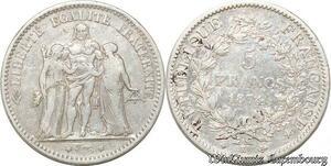 S9850 5 Francs Hercule Dupré 1874 K Bordeaux Argent Silver -> Faire Offre
