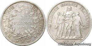 S9858 5 Francs Hercule Dupré 1874 A Paris Argent Silver -> Faire Offre