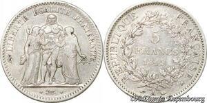 S9862 5 Francs Hercule IIe République Dupré 1849 A Paris Argent Silver