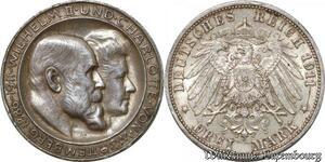 S9867 Germany 3 Mark Guillaume II Württemberg Wilhelm II 1911 F Silver AU !