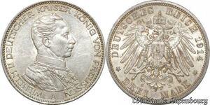 S9873 Allemagne 3 Mark Guillaume II Preussen 1914 A Argent Silver