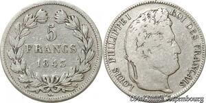 S9884 5 Francs Louis Phillippe I Domard 1843 W Lille Argent