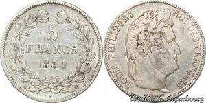 S9887 5 Francs Louis Phillippe I Domard 1834 T Nantes Argent Silver