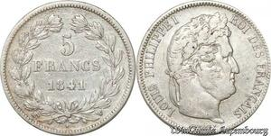 S9888 5 Francs Louis Phillippe I Domard 1841 W Lille Argent Silver