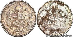 S6023 Pérou Etat du Sud République 1821 1 sol 1872 YJ Lima Argent Silver