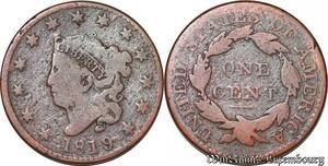 S6028 Rare Scarce USA United State America 1 Cent 1819/8 Coronet Head