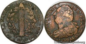 S6031 Rare Constitution 2 Sols Louis XVI An 4 type Francois 1792 AA Metz