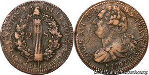 S6041 Rare Constitution 2 Sols Louis XVI An 4 1792 BB trasbourg - Faire Offre