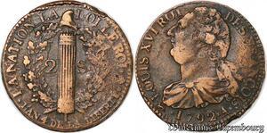 S6042 Rare Constitution 2 Sols Louis XVI An 4 1792 A Paris - Faire Offre