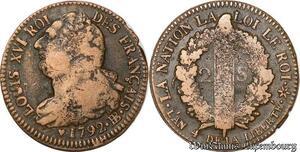 S6045 Constitution 2 Sols Louis XVI An 4 1792 BB Strasbourg - Faire Offre