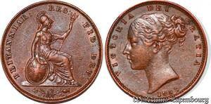 S6071 British Coins Victoria Farthing, 1853 young head left AU superbe