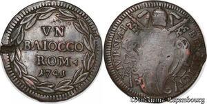 S6083 Italian Papal States 1 Baiocco Benedict XIV 1741