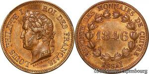 S6127 Louis-Philippe I essai 5 Centimes reFonte monnaies cuivre 1846 Paris