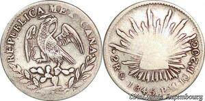 S6136 Mexico First Republic 2 reales 1845 Go PM Silver ->Make offer