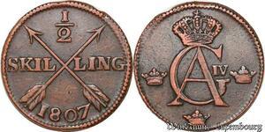 S6155 Suède Gustav IV Adolf 1/2 Skilling 1807 Qualité ->Faire Offre