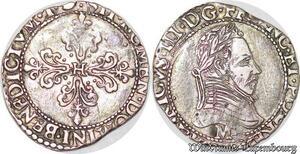 S6175 Très Rare 1/4 FrancCol plat Henri III M Toulouse Roi ligue 1592 Argent