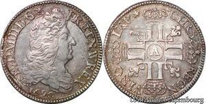S6199 Rare Louis XIV 1/2 écu aux 8 L 1er type - 1690 A Paris Argent Silver