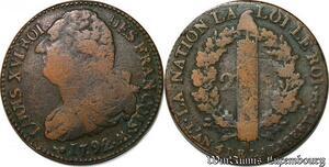 S6205 Très Rare Constitution 2 sols Faisceau type Francois 1792 AA Metz O/A