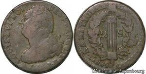 S6207 Constitution 1791-1792 2 sols au faisceau type Francois 1793 R Orléans