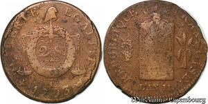 S6217 Rare Convention 2 sols aux balances 1793 I Limoges ->Faire offre