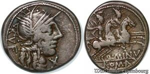 S6293 Rare denI denarius Q. Minicius Rufus 122 Helmeted head of Roma Silver