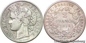 S6329 2 Francs Ceres 1872 petit K Bordeaux Argent ->Faire Offre