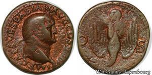 S6353 Vespasian Æ As Lyon AD 77- 78 Imp Caes Vespasian AVG Cos VIII P P Eagle
