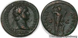 S6364 Rare Dupondius Domitien Titus Flavius Domitianus Auguste 95 Rome Virtvti
