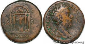 S6373 Rare Sesterce Marc Aurelle173 S|C// Relig Avg Temple 4 Colonnes