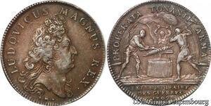 S6381 Rare Jeton Louis XIV Properta Tonanti armaGuees Argent Silver SUP
