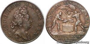 S6385 Rare Jeton Louis XIV Properta Tonanti armaGuees Argent Silver SUP