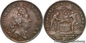 S6386 Rare Jeton Louis XIV Properta Tonanti armaGuees Argent Silver SUP
